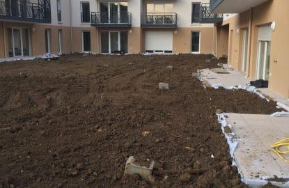 Remblaiement d'un patio pour un promoteur immobilier